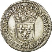 Coin, Louis XIII, 1/12 Écu, draped bust, 1643, Paris, AU(55-58), Gadoury 46