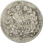 Coin, France, Louis-Philippe, 1/4 Franc, 1833, Lille, VF(30-35), Silver