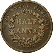 Coin, INDIA-BRITISH, 1/2 Anna, 1845, Calcutta, VF(30-35), Copper, KM 447.1