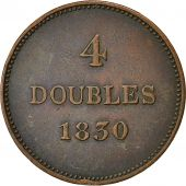 Coin, Guernsey, 4 Doubles, 1830, Birmingham, VF(30-35), Copper, KM 2