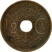 Coin, FRENCH INDO-CHINA, 1/2 Cent, 1936, Paris, AU(55-58), Bronze, KM:20