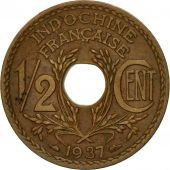 Coin, FRENCH INDO-CHINA, 1/2 Cent, 1937, Paris, AU(55-58), Bronze, KM:20