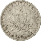 Coin, France, Semeuse, 2 Francs, 1908, Paris, VF(30-35), Silver, KM:845.1