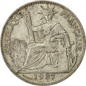 Coin, FRENCH INDO-CHINA, 20 Cents, 1937, Paris, AU(55-58), Silver, KM:17.2