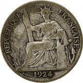 Coin, FRENCH INDO-CHINA, 20 Cents, 1924, Paris, VF(20-25), Silver, KM:17.1