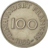 Coin, SAARLAND, 100 Franken, 1955, Paris, AU(55-58), Copper-nickel, KM:4