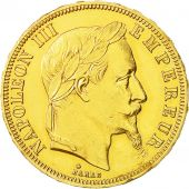Coin, France, Napoleon III, 50 Francs, 1866 BB, AU(50-53), Gold, KM 804.2