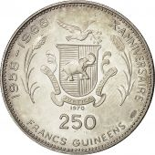 Coin, Guinea, 250 Francs, 1970, MS(60-62), Silver, KM 21