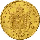 Coin, France, Napoleon III, 20 Francs, 1865, Paris, MS(60-62), Gold, KM 801.1