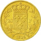 Coin, France, Louis XVIII, 20 Francs, 1824, Lille, AU(55-58), Gold, KM 712.9