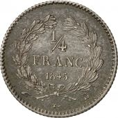 Coin, France, Louis-Philippe, 1/4 Franc, 1845, Rouen, MS(64), Silver, KM:740.2