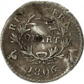 Coin, France, Napoléon I, 1/4 Franc, 1806, Paris, VF(20-25), Silver, KM 670.1