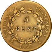 Coin, FRENCH COLONIES, Charles X, 5 Centimes, 1830, Paris, EF(40-45), Bronze