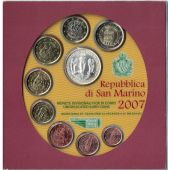 San Marino, Set, 1 Cent to 5 Euro, 2007, FDC, Bi-Metallic