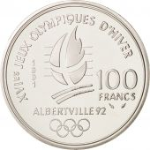 France, Albertville, 100 Francs, 1991, Ski jumpers, MS(65-70), Silver, KM:995