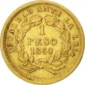 Chile, Peso, 1860, Santiago, Or, KM:133