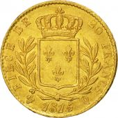 France, Louis XVIII, 20 Francs, 1815, Perpignan, AU(55-58), Gold, KM:706.5
