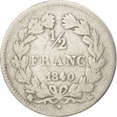 France, Louis-Philippe, 1/2 Franc, 1840, Bordeaux, VG(8-10), Silver, KM:741.7