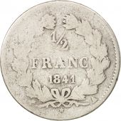 France, Louis-Philippe, 1/2 Franc, 1841, Paris, VG(8-10), Silver, KM:741.1