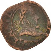 France, Henri III, Double Tournois, 1588, Amiens, TB+, Copper, CGKL:6
