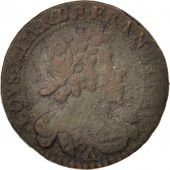 France, Louis XIII, Double tournois, 1629, Paris, TB+, Cuivre, CGKL:398C