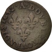 France, Louis XIII, Double Tournois, 1642, Corbeil, TB+, Cuivre, CGKL:516A