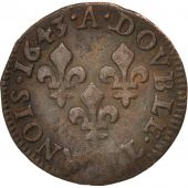 France, Louis XIII, Double Tournois, 1643, Corbeil, EF(40-45), Cuivre, CGKL:516A