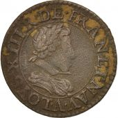 France, Louis XIII, Double tournois, 1621, Paris, EF(40-45), Cuivre, CGKL:388