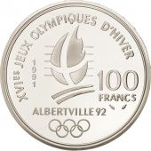 France, Albertville, 100 Francs, 1991, Hockey players, FDC, Argent, KM:993