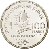 France, Albertville, 100 Francs, 1991, Cross-country skier, MS(65-70), KM:994