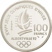 France, Albertville, 100 Francs, 1990, Speed skaters, MS(65-70), Silver, KM:980