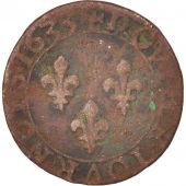 France, Louis XIII, Double tournois, 1633, Tours, TB, Cuivre, CGKL:440
