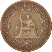 FRENCH INDO-CHINA, Cent, 1887, Paris, EF(40-45), Bronze, KM:1, Lecompte:39