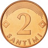 Latvia, 2 Santimi, 2000, FDC, Copper Clad Steel, KM:21