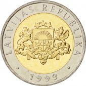 Latvia, 2 Lati, 1999, MS(65-70), Bi-Metallic, KM:38