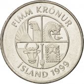 Iceland, 5 Kronur, 1999, SUP+, Nickel plated steel, KM:28a