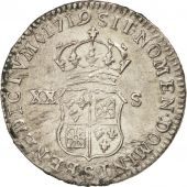 France, Louis XV, XX Sols de France-Navarre, 1719, Reims, EF(40-45), KM:440.18