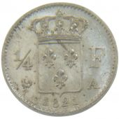 Louis XVIII, ¼ Franc, 1821 A, Rotated dies 160°, PCGS MS64
