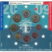 FRANCE, 1 Cent to 2 Euro, 2009, MS(65-70)