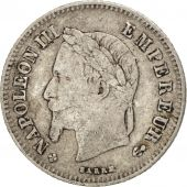 France, Napoleon III, 20 Centimes, 1866, Strasbourg, TB, Argent, Gadoury:308