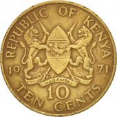 Kenya, 10 Cents, 1971, VF(20-25), Nickel-brass, KM:11