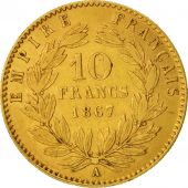 France, Napoleon III, 10 Francs, 1867, Paris, EF(40-45), Gold, KM:800.1