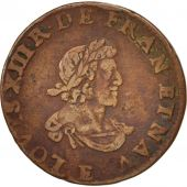 France, Louis XIII, Double Tournois biface, Tours, TTB, Cuivre