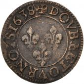 France, Louis XIII, Double tournois, 1638, Tours, EF(40-45), KM:86.4, CGKL:472