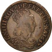 France, Louis XIV, Double avers du liard, 1657, Corbeil, TB, Cuivre, C2G:150