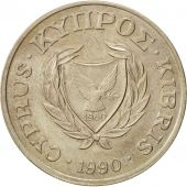 Chypre, 20 Cents, 1990, SUP, Nickel-brass, KM:62.1