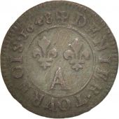 France, Louis XIV, Denier tournois, 1648, Paris, AU(50-53), Copper, KM:167