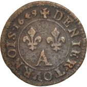 France, Louis XIV, Denier tournois, 1649, Paris, TTB, Cuivre, CGKL:552