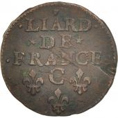 France, Louis XIV, Liard de France, 1657, Caen, TB, Cuivre, C2G:54