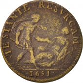 France, Token, Etats de Bourgogne, 1651, VF(20-25), Brass, Feuardent:9794